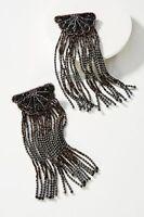 Olivia Dar Tasseled Black Gold Fan Drop Earrings Beaded Fringe $98
