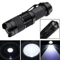 7W 1200lm 1-Mode Mini Zoomable Q5 LED Metal Flashlight Torch Light Black