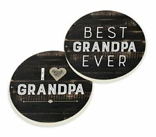 BEST GRANDPA EVER Wood-Look Ceramic Car Coasters, Set of 2, by P. Graham Dunn