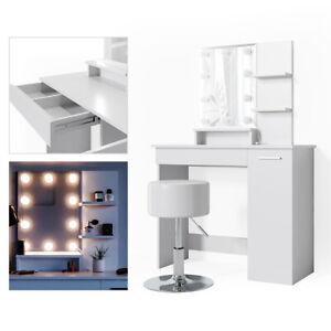Vicco Table de maquillage Julia coiffeuse avec miroir Blanc + 10 lampes LED