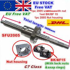 【In EU】SFU2005 1000mm Ballscrew+2005 Ballnut + BK/BF15 End support + Nut housing