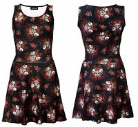 Gothic Floral Sugar Skulls Roses Alternative Print Rockabilly Retro Skater Dress