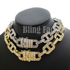 "Men's Hip Hop Full Iced 18mm 18"" Thick Crystal Gucci Link Choker Chain Necklace"