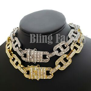 """Men's Hip Hop Full Iced 18mm 18"""" Thick Crystal Gucci Link Choker Chain Necklace"""