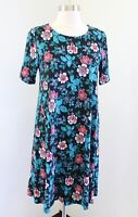 NWT Ann Taylor Loft Black Blue Pink Floral Short Sleeve T Shirt Shift Dress XS