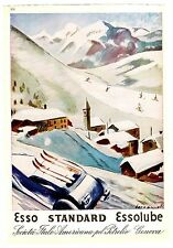 AUTOMOBILE ITALIAN MAG AD ESSO OIL 2-SIDED BERNAZOLLI SKIING & CITY TRAFFIC