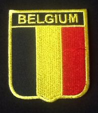 BELGIUM BELGIAN NATIONAL COUNTRY FLAG BADGE IRON SEW ON PATCH CREST SHIELD