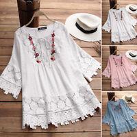 AU 14-24 Women Crochet Lace Blouse Tee T Shirt 3/4 Sleeve Plus Size Floral Top