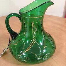 Vintage circa 1906 EAPG Dugan Waving Quill Green Glass Pitcher Gold trim