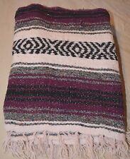 Hand Woven Acrylic Mexican Throw Blanket JFR TEXTILES NM 60 X 49 PURPLE GREY