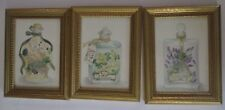 3 Gold Frame Herbal Bath Oils Lavatory Bathroom Prints cardenia lavender jasmine