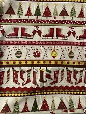 Cotton Fabric 9x20 Christmas Winter Holiday Stockings Trees Scrap Remnant Mask
