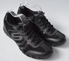 Damas Skechers De Cuero Negro Zapatillas Size UK 5