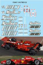 1/43 Ferrari f1 f2007 F 2007 Sponsor RÄIKKÖNEN MASSA Abziehbilder TB Decal tbd12...