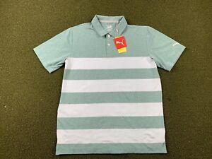 Puma Mattr Kiwi Stripe Golf Polo Shirt Teal Blue Mens SZ M ( 599113 13 )