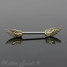 14K YELLOW GOLD TRIPLE PLATED ANGEL WINGS SURGICAL STEEL NIPPLE BAR RING