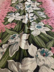 Fabulous Vintage Barkcloth Fabric ~ Pink White Daffodils~ Vat Prints 44x45 !