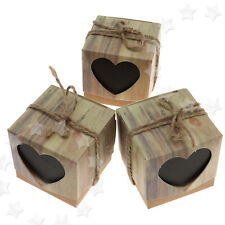 100 Retro Wedding Party Heart Rustic Kraft Candy Boxes Hemp Rope Favor Gift Case