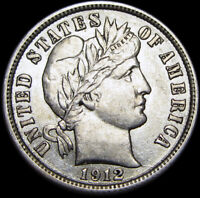 1912 Barber Dime Silver  ----  STUNNING US Coin ----  #K894