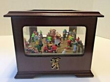 Mr Christmas Animated Music Box ELVES 2003 Windup Cherrywood Wish u A Merry Xmas