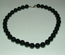 CHUNKY OPAQUE BLACK GLASS BEADS NECKLACE SILVER PLATED CLASP strand FRL