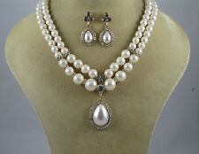 Two Line Cream Pearl Necklace With Teardrop Pearl Pendant and Matching Earrings