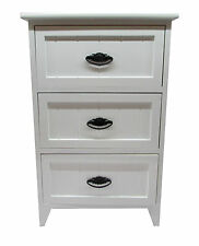 3 Drawer Modern White Gloss Wooden Small Bedside Table / Cabinet Storage Unit
