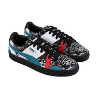 Puma X Shantell Martin Basket Graphic Mens Black Leather Low Top Sneakers Shoes