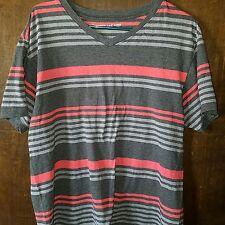 AIRWALK Mens Short Sleeve V Neck Striped T Shirt Size L