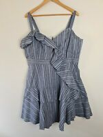 City Chic Blue Striped Layered Ruffle Fit & Flare A-Line Dress Women's Size M~18