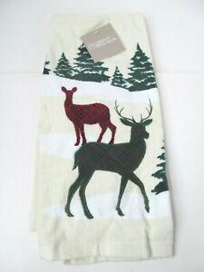Deer Wonderland Kitchen Dish Towel Pine Trees 100% Cotton Terry Woods Country C1