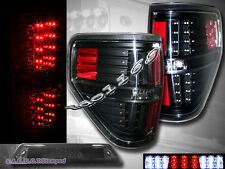 2009-2014 Ford F150 XL XLT STX FX4 Pickup Tail Lights Black + 3rd Brake Light