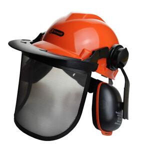 Chainsaw Brushcutter Safety Helmet Metal Mesh Full Visor Forestry