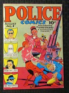 POLICE COMICS 31 Reprint FN 6.0 Plastic Man / Firebrand / Phantom Lady