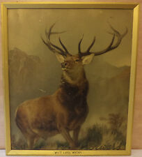 VHTF VTG DEWAR'S SCOTCH WHISKY ARTWORK PRINTED ON WOOD WITH ORIGINAL FRAME