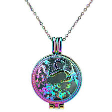 """Rainbow Color Round Pad Diffuser Flower Dragon Charm Necklace 24"""" -C999"""