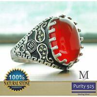 Men Ring  Natural Red Carnelian Agate Aqeeq sterling silver arabian yemeni