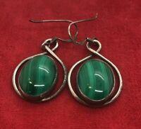 Vintage Sterling Silver Earrings Modernist Style Signed Malachite Drop Estate