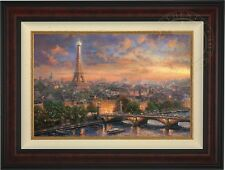 Thomas Kinkade Paris City of Love 18 x 27 LE Canvas S/N (Burl Frame)