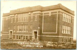 1913 KIMBALL, Minnesota RPPC Real Photo Postcard KIMBALL SCHOOL Building View