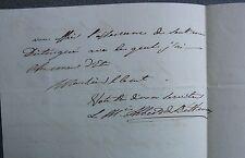 Albert de Béthune. Autographe. Gremevillers. 1826.