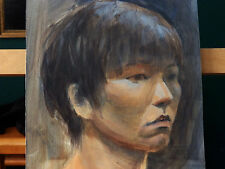 'YOUNG ASIAN MAN' Portrait Study Vintage Watercolor Painting