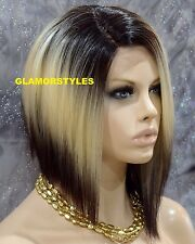 """15"""" Straight Short Bob Brown Blonde Mix Full Lace Front Wig Heat Ok Hair Piece"""