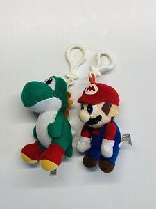 "4"" Toysite Nintendo Power Mario & Yoshi Keychain Plush Clip-On Figure Doll VG"
