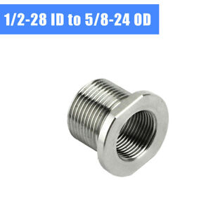 1/2-28 ID to 5/8-24 OD Threaded Adapter Stainless Steel Silver Joint Connector