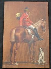 19th C. Fox Hunt Equestrian Oil on Wood Signed Painting