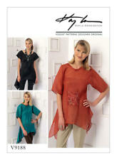 Vogue Pattern V9188  Womens Handkerchief-Hem Tops with Center Pocket Size XS-M