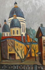 Vintage fauvist oil painting cityscape signed