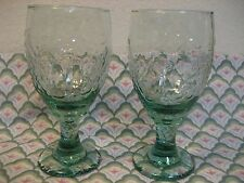 LIBBEY 2 Spanish Green Chivalry ORCHARD Textured Panel Wine / Water Goblet   EUC
