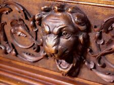 Rare Victorian Antique Wood Heavily Carved Bookcase Shelf 1900c Italian Figural!